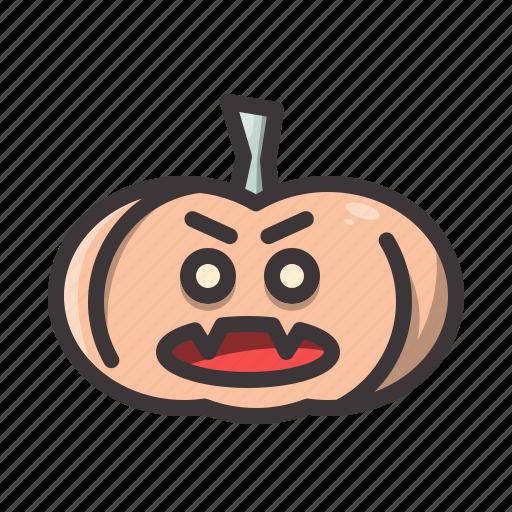 halloween, pumpkin, vampire icon