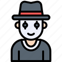 clown, halloween, magician, mask, thief, top hat icon