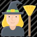broom, halloween, magic, witch, woman