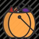 candy, halloween, basket, bag, scary, trick-or-treat, pumpkin