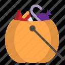 scary, pumpkin, trick-or-treat, halloween, basket, candy, bag