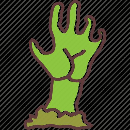 creepy, dead, evil, halloween, hand, zombie icon
