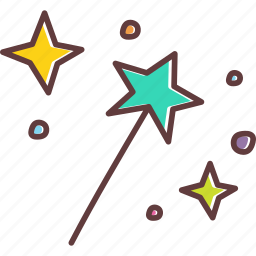 fairy, fantasy, magic, party, stars, wand, witch icon