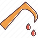 axe, blood, evil, halloween, horror, scythe, sickle icon