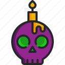 candle, skull, light, halloween, scary