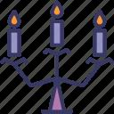 candelabra, candle, light, halloween, christmas icon