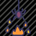 fire, horror, spider, halloween