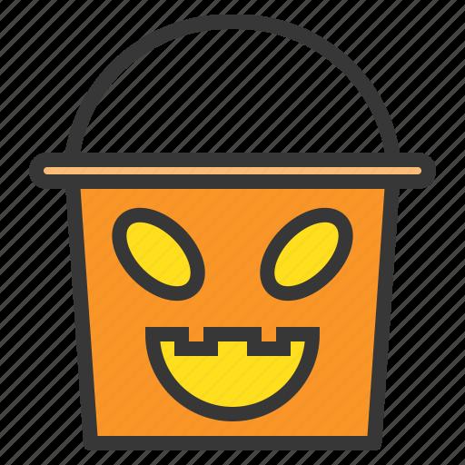 bucket, halloween, horror, scary, spooky, trick or treat icon