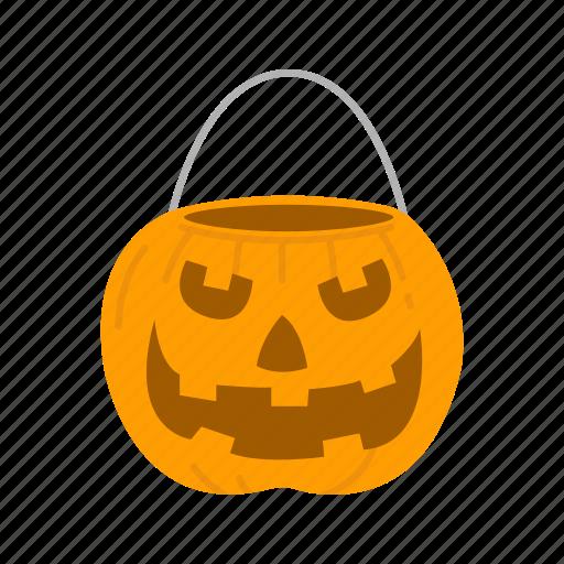 halloween, holidays, horror, jack - o'- lantern, pumpkin, pumpkin basket, spooky icon