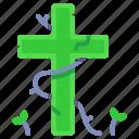 cemetery, cross, grave, gravestone, graveyard, halloween, tombstone icon