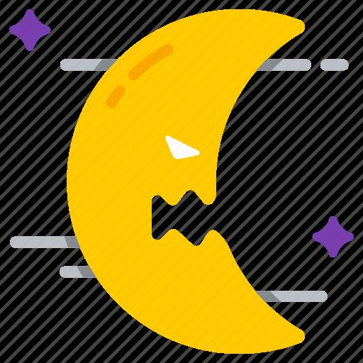 crescent, dusk, evil, halloween, lunar, moon, night icon