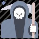 death, grim, halloween, horror, reaper, scythe, skull icon
