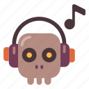 dead, halloween, headphones, music, skeleton, skull