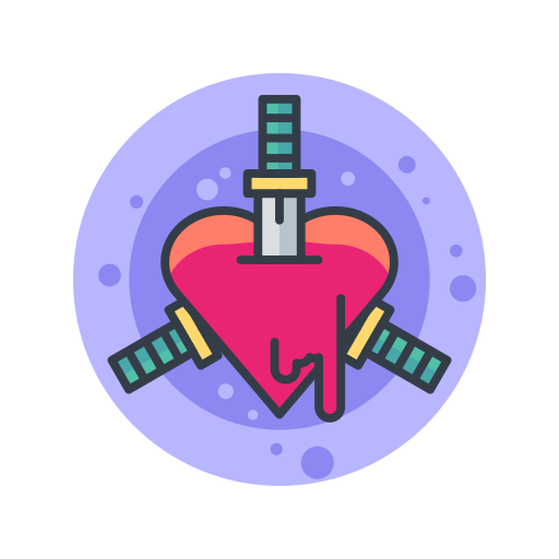blade, halloween, hearts, knife, scary, spooky, stabbing icon