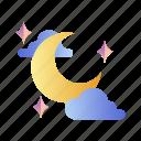 crescent, dusk, halloween, lunar, moon, moonlight, night icon