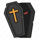 burial, cemetery, coffin, death, funeral, grave, vampire icon