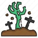 creepy, graveyard, halloween, horror, living dead, spooky, zombie icon