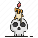 candle, glowing, halloween, mystery, skull, witchcraft icon