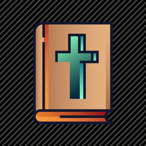 bible, book, catholic, christian, cross, holy, religion icon