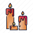 candle, decoration, flame, glowing, halloween, mystery, wax icon