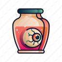 creepy, eyeball, halloween, horror, jar, organ, spooky icon