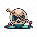 bone, danger, dead, halloween, skeleton, skull, spooky icon