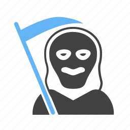 death, halloween, hood, poster, scary, skull, spooky icon