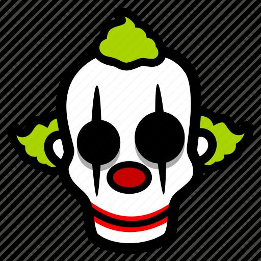 clown, creepy, halloween icon