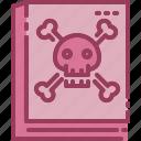 book, death, halloween, monotone, skull icon