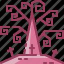 halloween, monotone, tomb, tree icon
