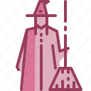 broomstick, costume, halloween, hat, monotone, witch icon