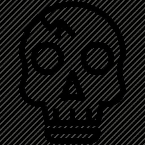 bone, halloween, horror, outline, scary, skull, spooky icon