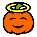 angel, emoji, halloween, halo, pumpkin icon