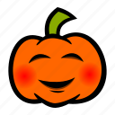 blushing, emoji, halloween, pumpkin icon