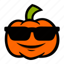 cool, emoji, halloween, pumpkin, sunglasses icon