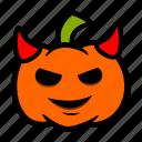devil, emoji, halloween, horns, pumpkin icon