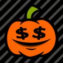 dollar, emoji, eyes, halloween, pumpkin icon