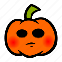 blush, embarrassed, emoji, halloween, pumpkin icon