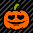 emoji, eyes, halloween, heart, pumpkin icon
