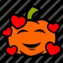 emoji, halloween, hearts, kisses, pumpkin icon