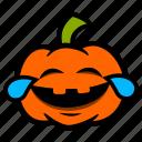 cry, emoji, halloween, laugh, pumpkin, tears icon