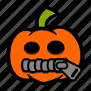 emoji, halloween, pumpkin, secret, zipped icon