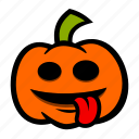 emoji, halloween, pumpkin, silly, tongue icon