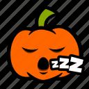 emoji, halloween, pumpkin, sleepy, snooze icon