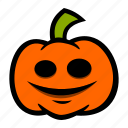 emoji, halloween, pumpkin, smile icon