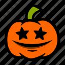 emoji, eyes, halloween, pumpkin, star icon