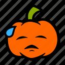 emoji, halloween, pumpkin, stress, sweat icon