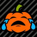 crying, emoji, halloween, pumpkin, sad, tears, upset icon