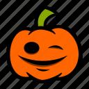 emoji, halloween, pumpkin, smile, wink icon