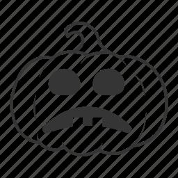 halloween, pumpkin, sad, unhappy icon